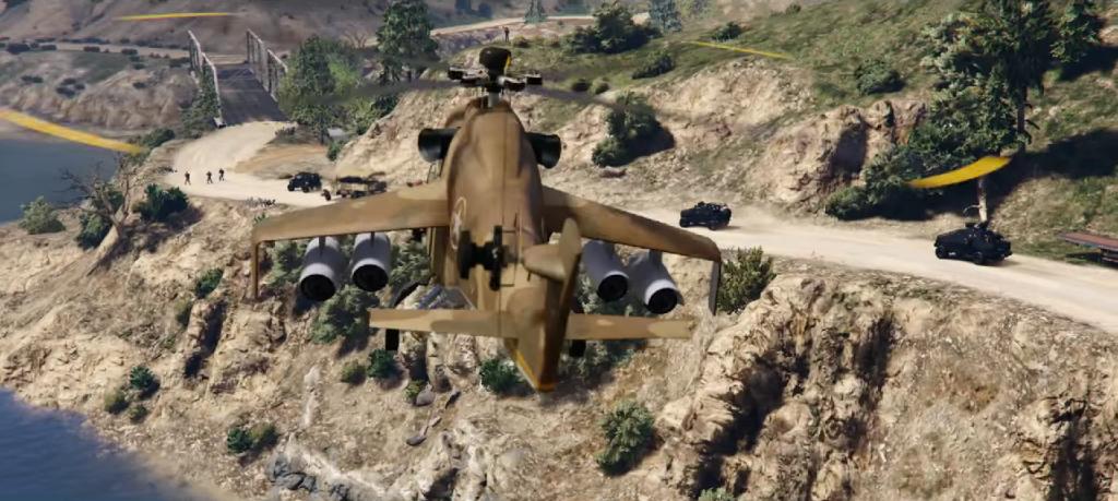 """No primeiro trailer dos Assaltos pudemos ver um helicóptero de guerra por alguns segundos, seus possíveis nomes são """"Hunter"""" e """"The Savage""""."""