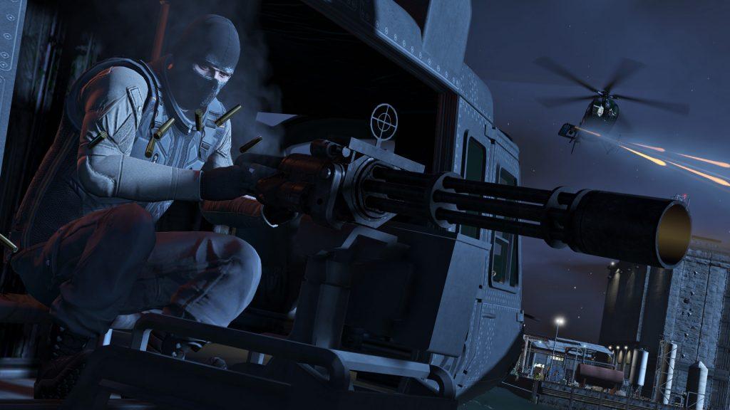 Nesta imagem temos o helicóptero Valkier, seu grande diferencial é a metralhadora anti-infantaria.
