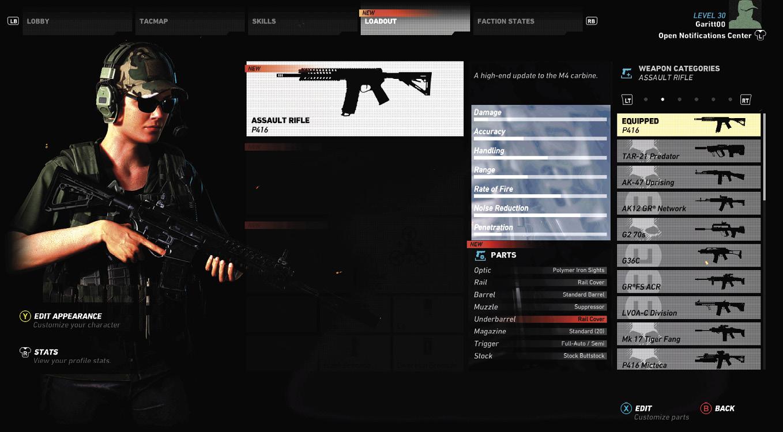 ghost recon wildlands armas e estatisticas