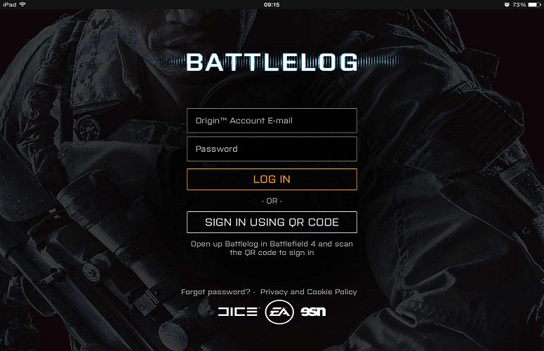 Esta é uma imagem do Battlelog de um dispositivo remoto rodando iOS 7.