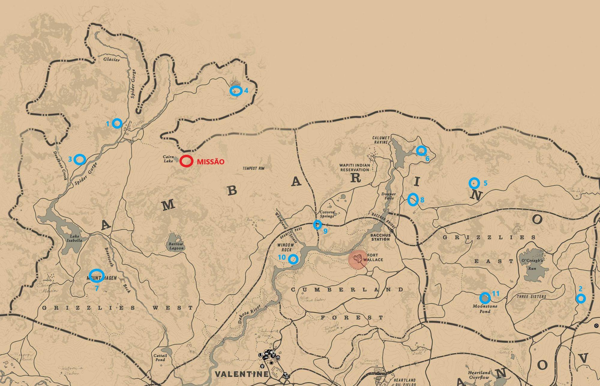 Red Dead Redemption 2 Guia de exploração de Ambarino